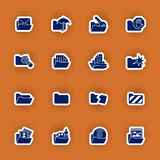 Folder Icon Set Isolated On Red Royalty Free Stock Images