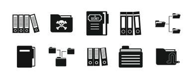 Folder icon set, simple style Royalty Free Stock Photo