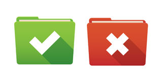 Folder icon set with survey signs Stock Photo