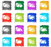 Folder icon set. Folder web icons in grunge style for user interface design Stock Photography