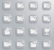Folder icon set. Folder web icons for user interface design Stock Photos