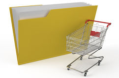 Folder icon with shopping cart. Isolated on white background Stock Photography