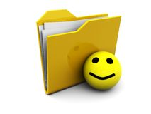 Folder icon with smiley Royalty Free Stock Photos