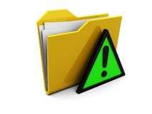 Folder icon and warning sign Stock Images