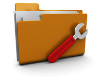 Folder icon with wrench. 3d illustration of folder icon or symbol with wrench, over white background Royalty Free Stock Images