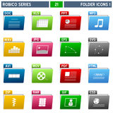Folder Icons [1] - Robico Series. Collection of 16 colorful folder icons with file extension, isolated on white background. Robico Series: check my portfolio for stock illustration