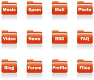 Folder icons. Royalty Free Stock Photography