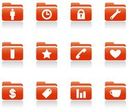 Folder icons. Vector art in EPS format. All icons organized in layers for usability. 12 objects Royalty Free Stock Photos