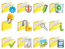 Folder icons. Set of 12 folder icons Stock Photo