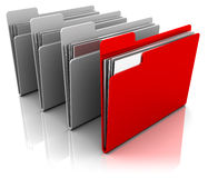 Folder icons. 3d illustration of folder icons row with one selected Stock Image