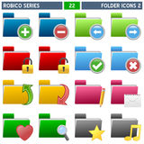 Folder Icons [2] - Robico Series. Collection of 16 colorful folder icons, isolated on white background. Robico Series: check my portfolio for the complete set stock illustration