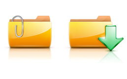 Folder icons. Vector illustration of two yellow interface computer folder icons Stock Photos