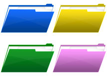 Folder icons. Four glass icons of folder of various colors royalty free illustration
