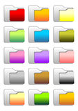 Folder icons. Set of web folder icons with different colors Royalty Free Stock Photos