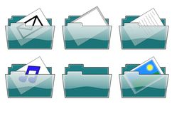 Folder Icons. Illustration of desktop folder icons; mail documents music & pictures Stock Photos