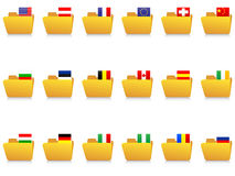 Folder icons with flags Royalty Free Stock Images