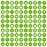 100 folder icons hexagon green. 100 folder icons set in green hexagon isolated vector illustration Vector Illustration