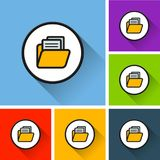 Folder icons with long shadow. Illustration of folder icons with long shadow Stock Images
