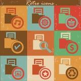 Folder icons,Retro style Stock Photos