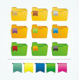Folder icons with ribbon Stock Images