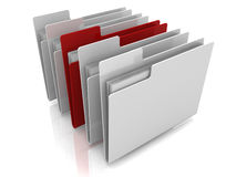Folder icons row with one selected. Folder icons row with one red selected Royalty Free Stock Photos
