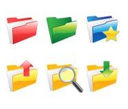 Folder icons set. Vector illustration of glossy folder icons Royalty Free Stock Images
