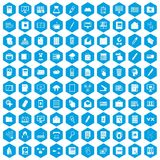 100 folder icons set blue. 100 folder icons set in blue hexagon isolated vector illustration Stock Photography