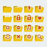 Folder icons set. In 'flat' style Royalty Free Stock Photo