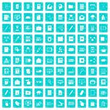 100 folder icons set grunge blue. 100 folder icons set in grunge style blue color isolated on white background vector illustration Royalty Free Stock Photos