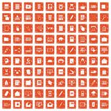 100 folder icons set grunge orange. 100 folder icons set in grunge style orange color isolated on white background vector illustration Royalty Free Stock Photos