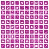 100 folder icons set grunge pink. 100 folder icons set in grunge style pink color isolated on white background vector illustration Stock Photography