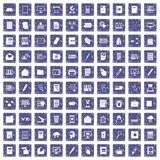 100 folder icons set grunge sapphire. 100 folder icons set in grunge style sapphire color isolated on white background vector illustration Royalty Free Stock Photo