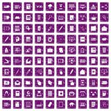 100 folder icons set grunge purple. 100 folder icons set in grunge style purple color isolated on white background vector illustration Royalty Free Stock Images