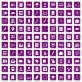 100 folder icons set grunge purple Royalty Free Stock Images