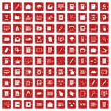 100 folder icons set grunge red. 100 folder icons set in grunge style red color isolated on white background vector illustration Royalty Free Stock Images