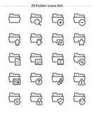 Folder icons set, Line Thickness icons Royalty Free Stock Photography