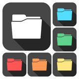 Folder icons set with long shadow. Vector icon Royalty Free Stock Photography