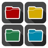 Folder icons set with long shadow. Vector icon Stock Photography