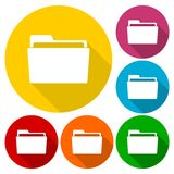 Folder icons set with long shadow. Vector icon Royalty Free Stock Images