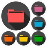 Folder icons set with long shadow. Vector icon Stock Photos