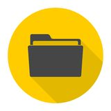 Folder icons set with long shadow. Vector icon Royalty Free Stock Photo