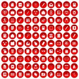 100 folder icons set red. 100 folder icons set in red circle isolated on white vector illustration royalty free illustration