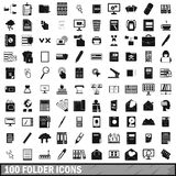 100 folder icons set, simple style Royalty Free Stock Photos