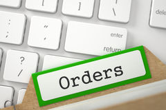 Folder Index with Inscription Orders. 3d. Orders Concept. Word on Green Folder Register of Card Index. Closeup View. Selective Focus. 3D Rendering Royalty Free Stock Photo