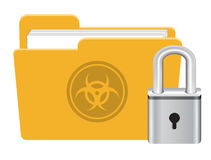 Folder infected virus with master key lock icon vector. A folder infected virus with master key lock icon vector Stock Photos