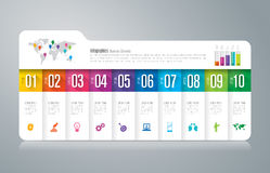 Folder infographic design and business icons with 10 options. Stock Photo
