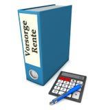 Folder Insurance Pension. Blue folder with german text Vorsorge Rente, translate insurance pension, with calculator and ballpen Stock Image