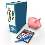Folder Insurance Pension. Blue folder with german text Vorsorge Rente, translate insurance pension, with calculator, ballpen and piggy bank Stock Photos