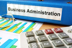 Folder with label business administration. Royalty Free Stock Photos