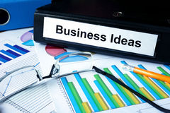 Folder with label business ideas. Stock Photography